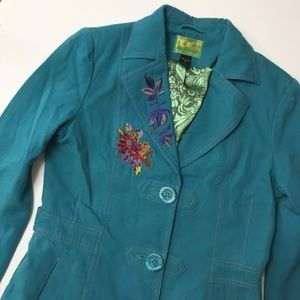 TRACY PORTER $298 embroidered vintage car coat